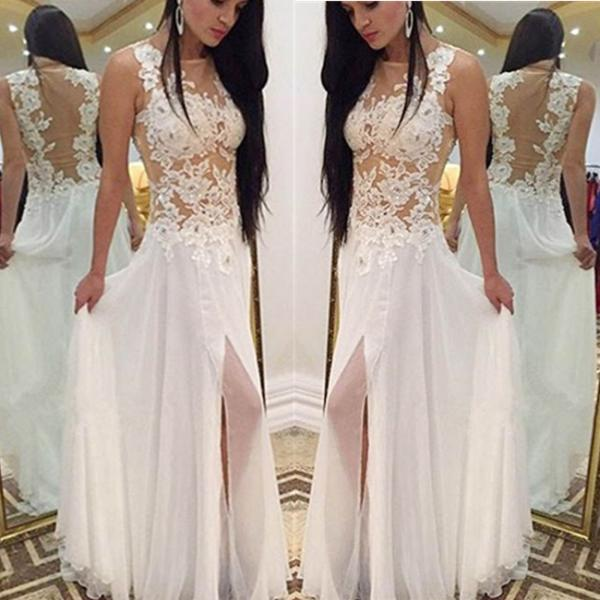 Scoop Neck Long Chiffon Prom Dresses Appliques Floor Length Party Dresses
