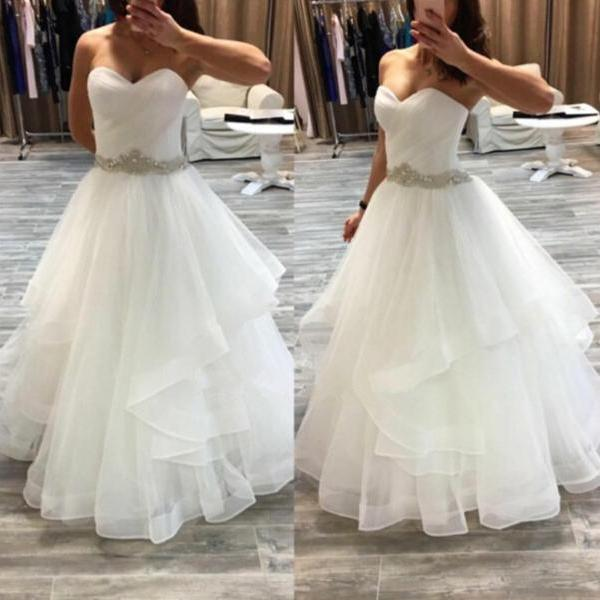 Sweetheart Neck A-Line Ruffle Wedding Dresses Crystal Beaded Party Dresses