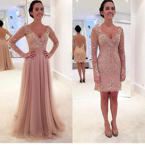 Custom Made A-Line Long-Sleeves V-Neck Prom Dress,Noble Appliques Party Dress ,Backless Evening Dress,Satin Mermaid Prom Dress,Handmade Prom Dress,