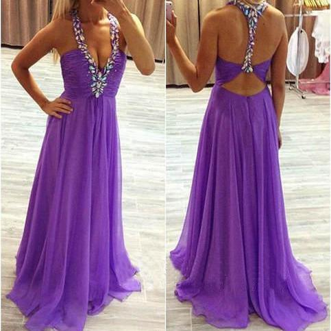 Custom Made A Line Chiffon Prom Dress,Beading Evening Dress,Dress For Prom,Dress 2015,Rhinestone Formal Dress,Charming Formal Dress,Sexy Backless Prom Dress,