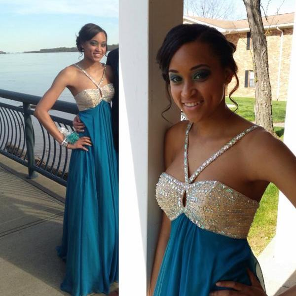 Custom Made A Line Chiffon Long Prom Dress With Beading,Long Evening Dress,Dress For Prom,Dress 2015,Beading Prom Gowns,Spaghetti Strap Prom Dress