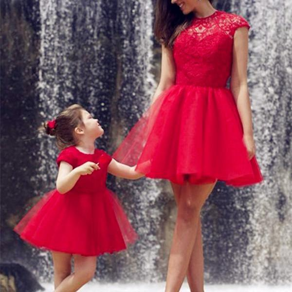 Red Tulle Charming Prom Dresses, Short/Mini Evening Dresses, Prom Dresses, Real Made Prom Dresses On Sale,