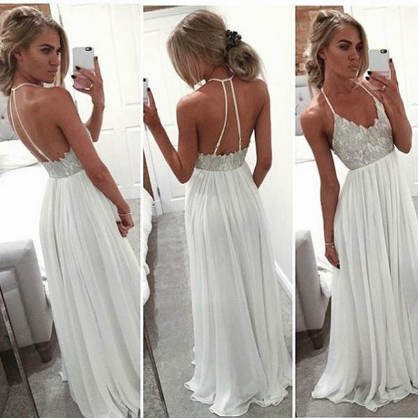 Cheap Simple Long Ivory Chiffon Lace Boho Bohemian Prom Dress Gowns Formal Evening Dresses Sexy Gown For Graduation
