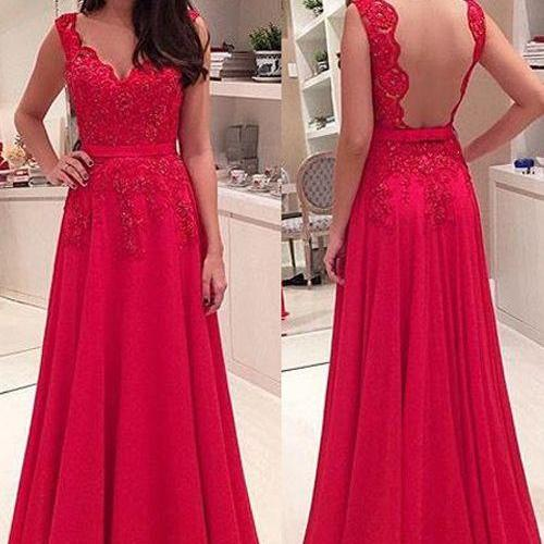Prom Dress,Prom Dress 2016.Backless Prom Dress,Red Prom Dress,Lace Prom Dress,Chiffon Prom Dress,Long Prom Dress,V-neck Prom Dress
