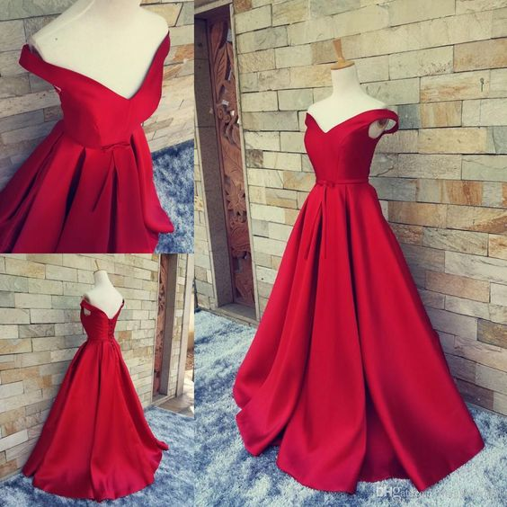 Charming Red Carpet Dress, Long Formal Dress, Red Prom Gowns With Belt Sexy V Neck Ball Gowns Open Back Lace Up Vintage Party Evening Gowns Real Photos