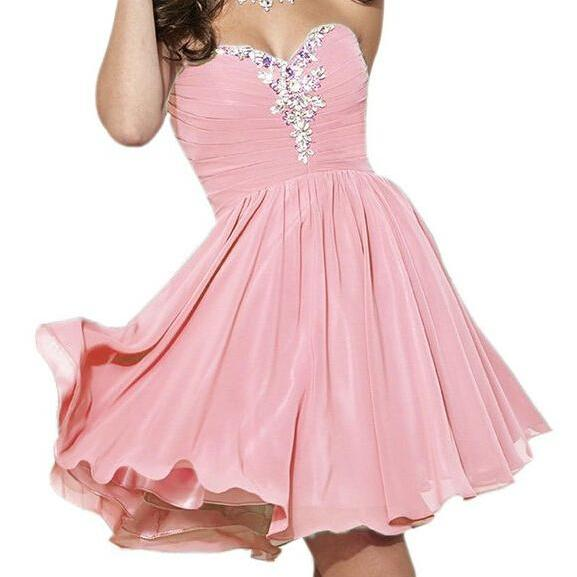 Chiffon Homecoming Dresses 2016 Sweetheart Neck Crystals Beaded Party Dresses Custom Made Party Dresses
