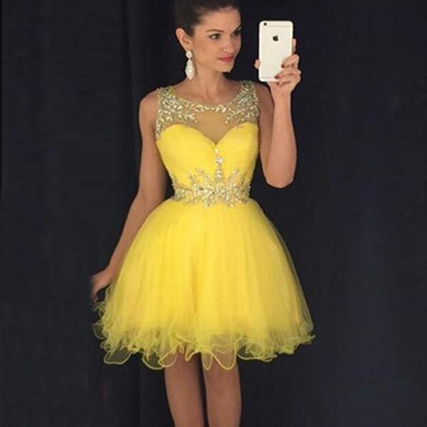 Homecoming Dresses, Yellow Dresses, Short Prom Dresses, Tulle, A-line, Cocktail Dresses, Short Dresses, Sleeveless Dresses