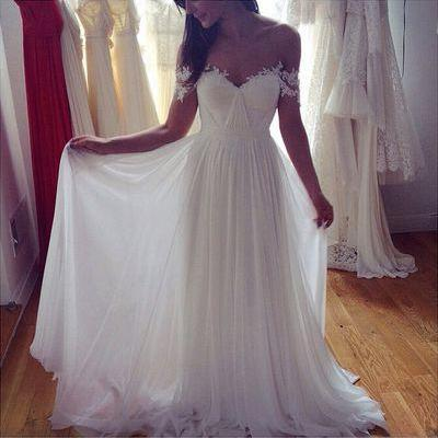 A-Line Wedding Dresses,Long Appliques Wedding Dresses,Wedding Dresses