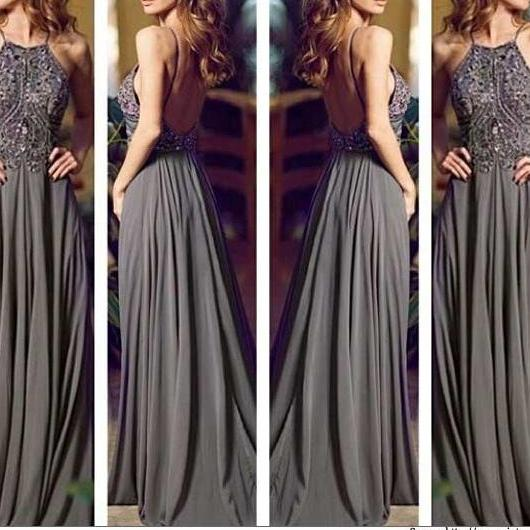 Prom Dresses, Backless Evening Gowns, Cocktail Dresses,Straps Prom Gowns,Beaded Evening Dresses