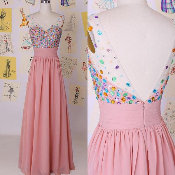 Cute Elegant Long Chiffon Prom Dresses,Elegant High Low Prom Gowns,High Quality Pink Eveing Dresses