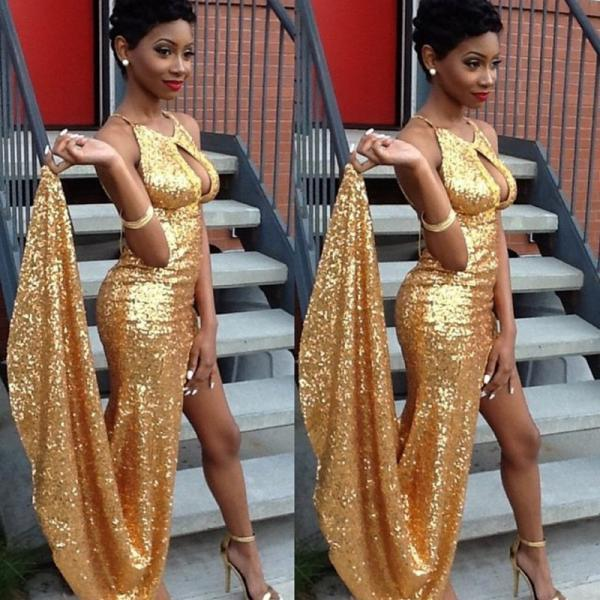 Sparkly Gold Sequin Shiny Long Prom Dresses,Front Spilt Prom Gowns,Prom Dress 2016,Handmade Prom Dress,Evening Dresses