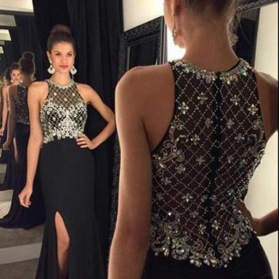 Sexy Long Front Split Black Prom Dresses,Gorgeous Prom Gowns,Modest Beading Evening Gowns