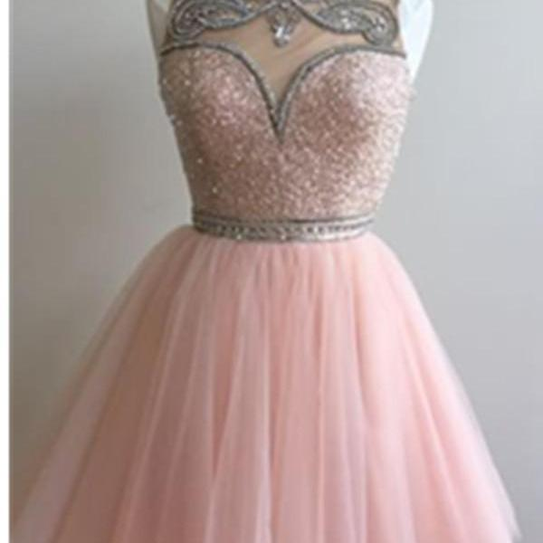 Pink A-line Beaded Tulle Homecoming Dresses,Modest Short Prom Dresses,Party Dresses