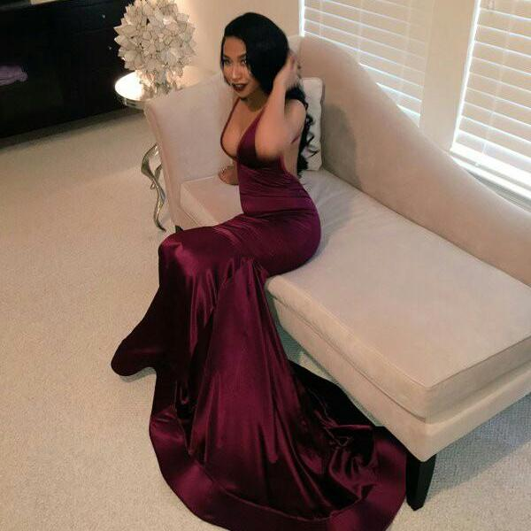 2016 Prom Dresses,New Arrival V-neck Prom Dresses, Sexy Evening Dresses, Formal Dresses, Dark Red Party Dress, Prom Dresses Custom Made,Mermaid Prom Dresses,Wedding and Evening Events Dress