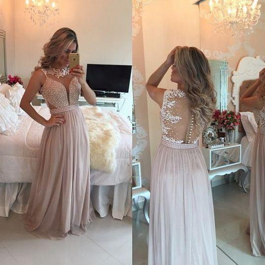 Chiffon Pearls Pink Long Prom Dresses Evening Gowns, 2016 Pearls Chiffon Prom Dresses Sweetheart Neck Sheer Open Back Long Formal Evening Gowns