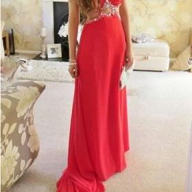 New Arrival Sexy Prom Dress,Halter Prom Dresses,Beading Party Dresses,Long Party Gown, Long A Line Chiffon Women Evening Dresses, Prom Party Dress, Red Prom Dresses