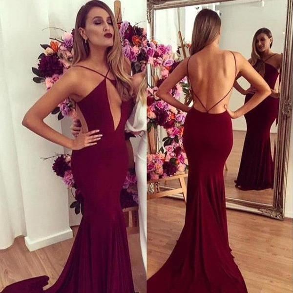 Sexy Backless Prom Dresses, Spaghetti Straps Long Evening Party Dress, Dresses For Graduation, Burgundy Prom Dresses, Mermaid Prom Dress, Formal Dresses
