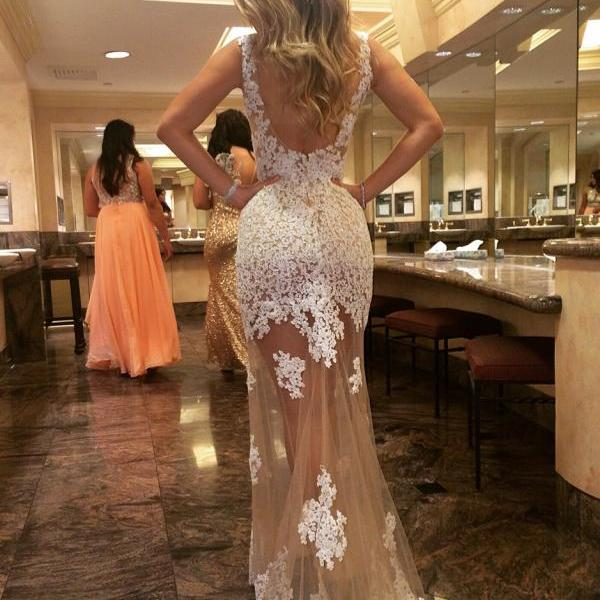 Sexy See Through White Lace Prom Dress, Mermaid Prom Dress, Backless Prom Dress, Lace Prom Dresses, Wedding Dress Ivory Boat Neck Fitted Bridal Gown