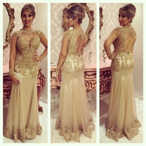 2015 Attractive Long Sleeves Prom Dresses, Sweetheart Sheer Neck Lace Tulle Chiffon Open Back Backless Evening Gowns,Women Dresses,Formal Party Dresses