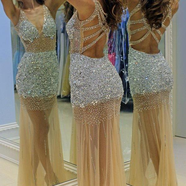 Champagne Prom Dresses,Tulle Prom Dress,Sexy Prom Dress,Mermaid Prom Dresses,Backless Formal Gown,Open Back Evening Gowns,Sparkly Formal Dress,Prom Gown For Teens