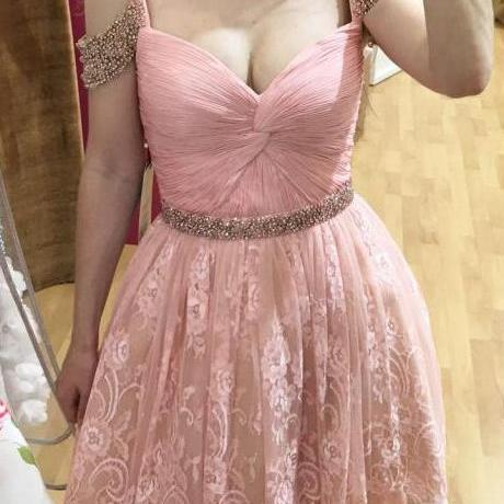 Homecoming Dresses,Lace Homecoming Gowns,Short Prom Gown,Pink Sweet 16 Dress,Homecoming Dress