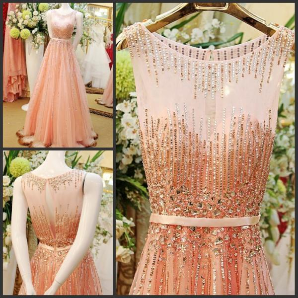 Charming Prom Dress,Tulle Prom Dress,Beading Prom Dress,A-Line Evening Dress