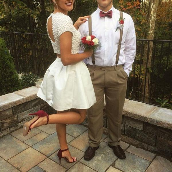 Homecoming Dresses,pearl beaded cap sleeve keyhole back white satin two piece homecoming dresses 2017 short prom gowns